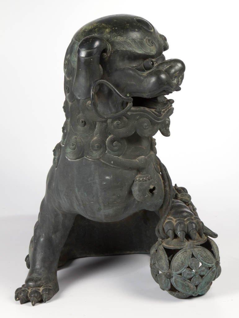 CHINESE BRONZE LARGE GUARDIAN FU DOG / LION CENSER - 8
