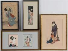 JAPANESE UKIYOE WOODBLOCK PRINTS LOT OF FOUR