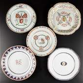 CHINESE EXPORT PORCELAIN PLATES AND DISHES, LOT OF FIVE