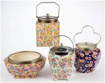 ENGLISH STAFFORDSHIRE POTTERY CHINTZ BISCUIT BARRELS