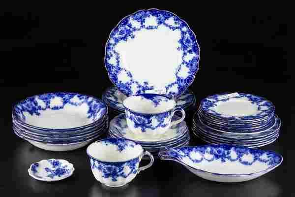 "ENGLISH STAFFORDSHIRE POTTERY FLOW BLUE RIDGWAY ""ESOR"""