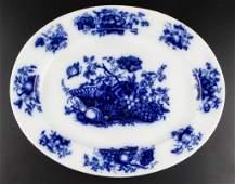 "ENGLISH STAFFORDSHIRE POTTERY FLOW BLUE PLATTER, ""FRUIT"