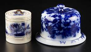 ENGLISH STAFFORDSHIRE POTTERY FLOW BLUE TEA OR BISCUIT