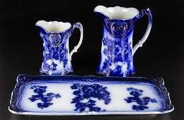ENGLISH STAFFORDSHIRE POTTERY FLOW BLUE TABLE ARTICLES