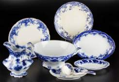 ENGLISH STAFFORDSHIRE POTTERY FLOW BLUE CHINA AND