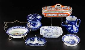 ENGLISH STAFFORDSHIRE POTTERY & CHINA FLOW BLUE AND