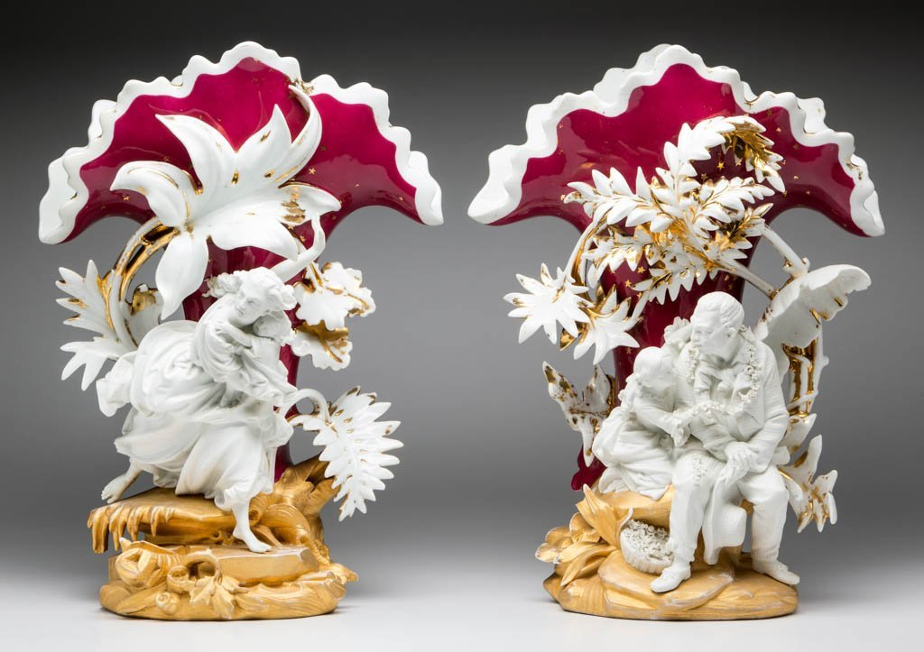 """FRENCH LIMOGES PORCELAIN PAIR OF """"UNCLE TOM'S CABIN"""""""