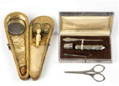 ASSORTED VICTORIAN SEWING KITS LOT OF TWO