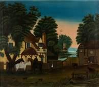 AMERICAN SCHOOL (19TH CENTURY) FOLK ART FARM SCENE