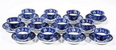 ENGLISH STAFFORDSHIRE POTTERY TRANSFERWARE TEABOWL AND