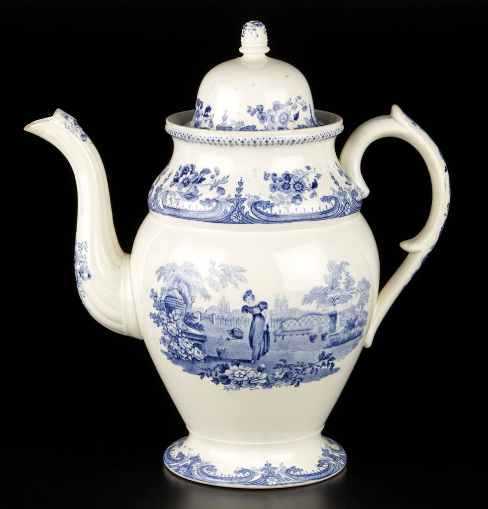 ENGLISH STAFFORDSHIRE POTTERY PEARLWARE COFFEE POT AND