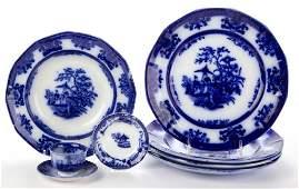 "ENGLISH DAVENPORT IRONSTONE FLOW BLUE ""AMOY"" PATTERN"