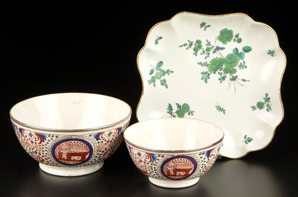 ENGLISH PORCELAIN TABLE ARTICLES, LOT OF THREE