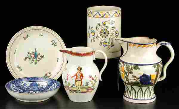 ENGLISH STAFFORDSHIRE POTTERY PEARLWARE TABLE ARTICLES
