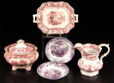 ENGLISH STAFFORDSHIRE POTTERY TABLE ARTICLES LOT OF
