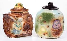 AMERICAN BISQUE FLASHER CERAMIC COOKIE JARS, LOT OF TWO