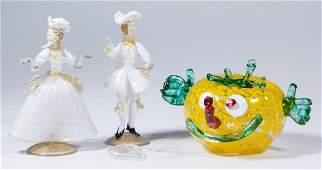 ASSORTED MURANO ART GLASS ARTICLES, LOT OF THREE