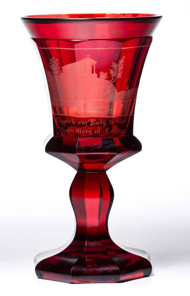 AMERICO-BOHEMIAN RUBY-STAINED GOBLET WITH AMERICAN VIEW