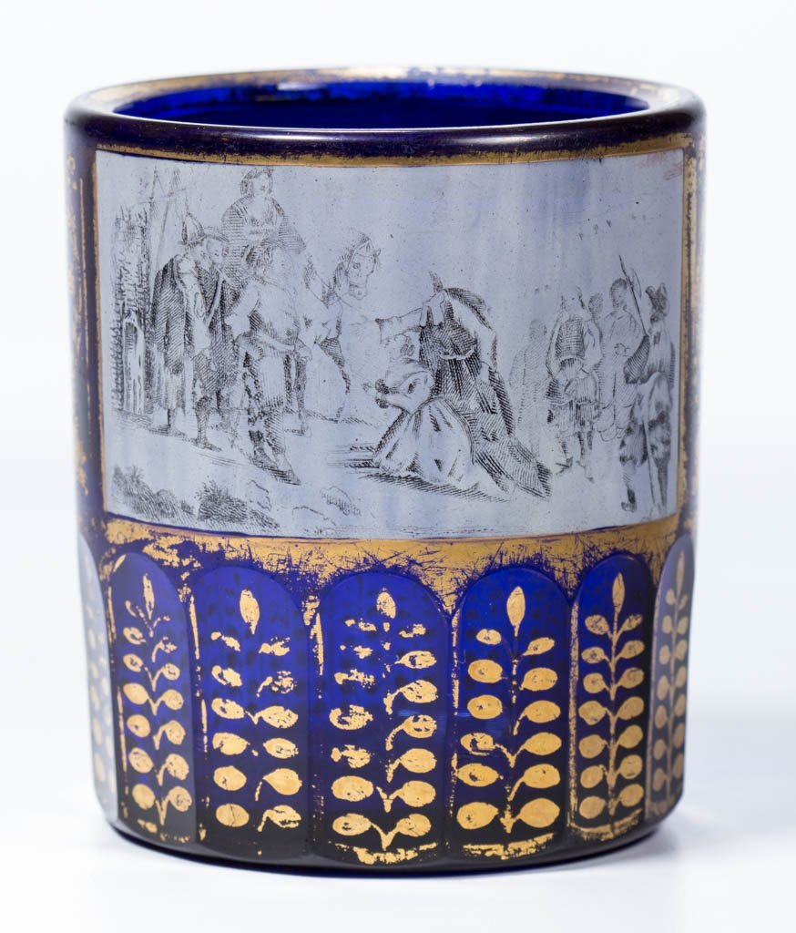 RUSSIAN CUT AND DECORATED HISTORICAL GLASS BEAKER /