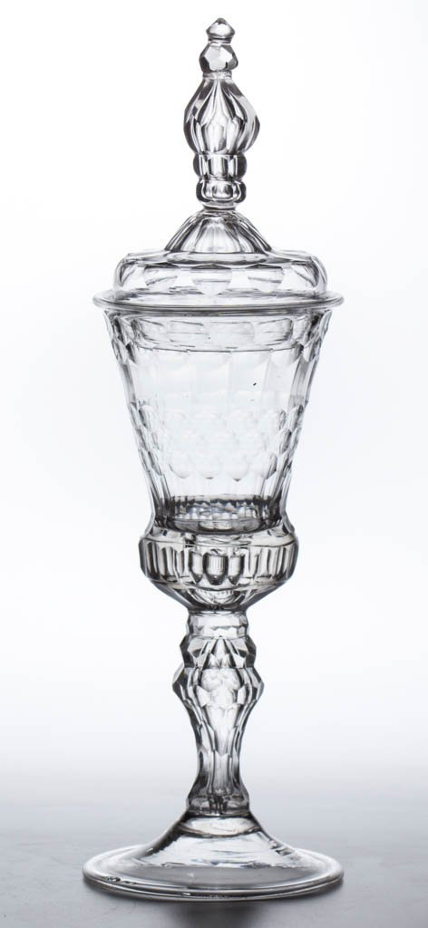 CONTINENTAL FREE-BLOWN AND CUT FACET-STEM POKAL AND
