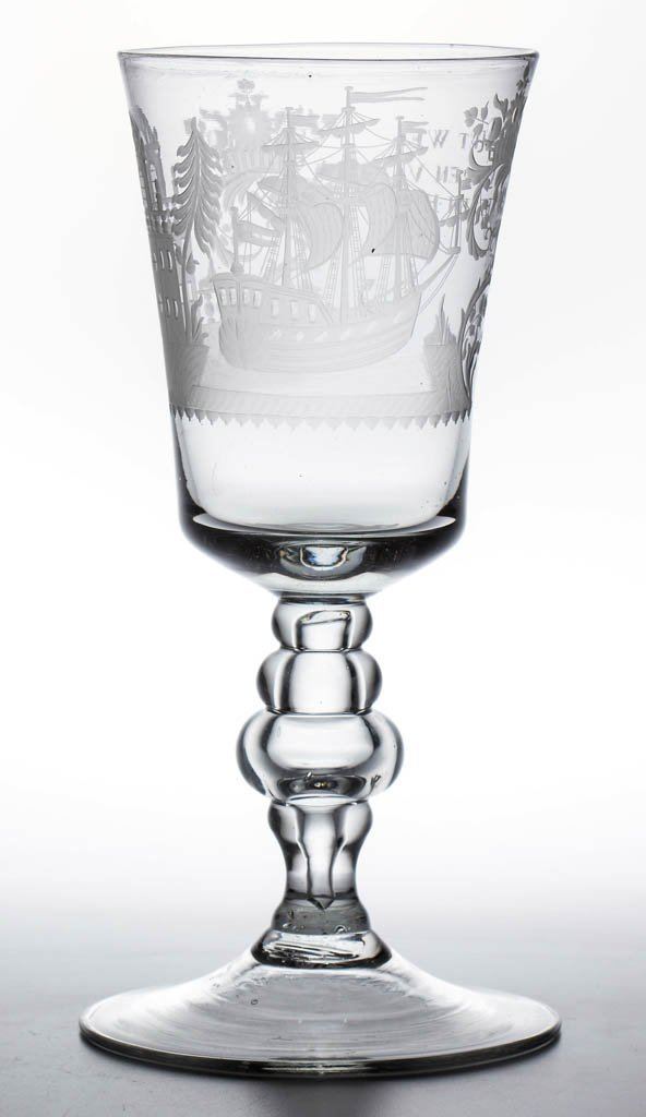 CONTINENTAL FREE-BLOWN AND ENGRAVED BALUSTER POKAL