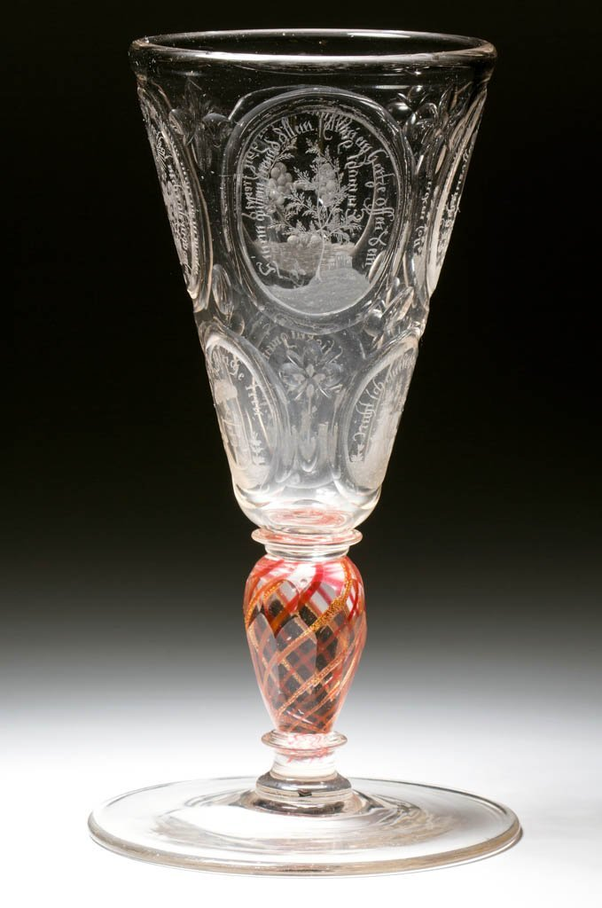 CONTINENTAL FREE-BLOWN, CUT, AND ENGRAVED COLORED-STEM