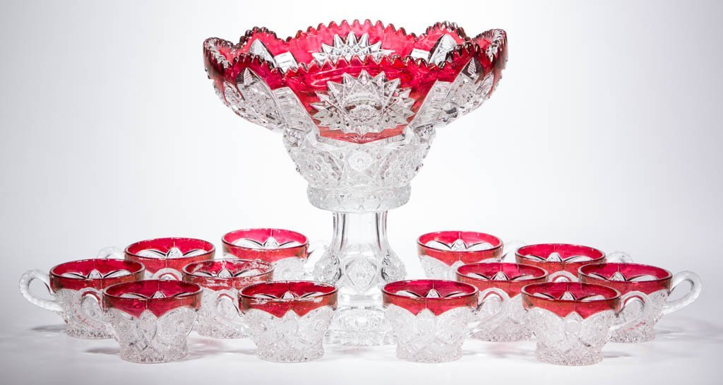 CO-OPERATEIVE NO. 364 - RUBY-STAINED 13-PIECE PUNCH SET