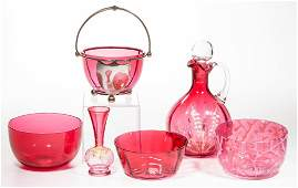 ASSORTED VICTORIAN CRANBERRY GLASS ARTICLES LOT OF SIX