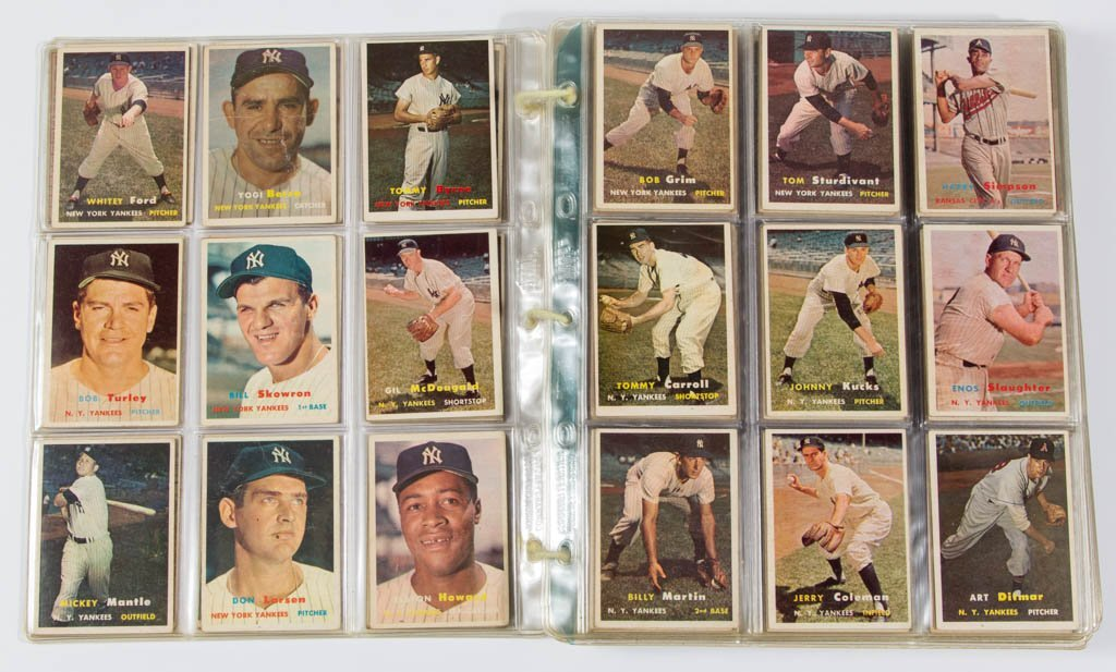 1957 TOPPS BASEBALL CARDS PARTIAL SET OF 385