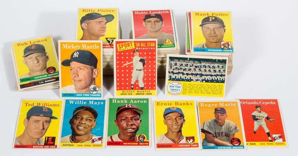 1958 TOPPS BASEBALL CARDS PARTIAL SET OF 359