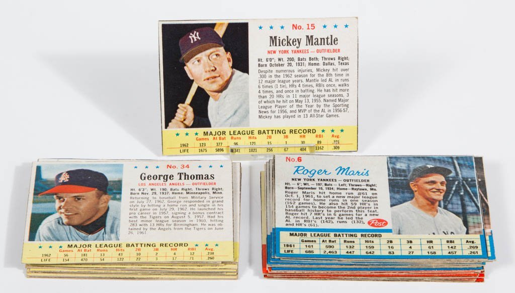 1962 AND 1963 POST CEREAL BASEBALL CARDS PARTIAL SETS,
