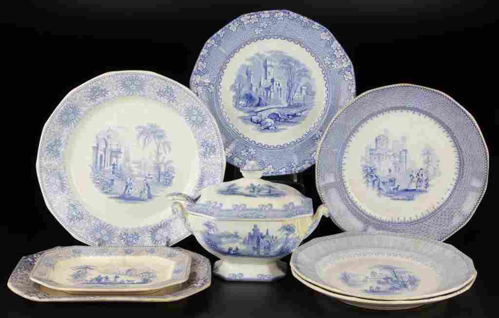 ENGLISH STAFFORDSHIRE IRONSTONE TRANSFERWARE ROMANTIC