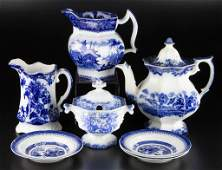 ENGLISH STAFFORDSHIRE POTTERY FLOW BLUE TABLE ARTICLES,