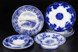 ENGLISH STAFFORDSHIRE IRONSTONE FLOW BLUE TABLE