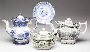 ENGLISH STAFFORDSHIRE POTTERY TRANSFERWARE ARTICLES,