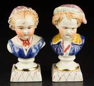 ENGLISH STAFFORDSHIRE POTTERY BUSTS OF CHILDREN, PAIR