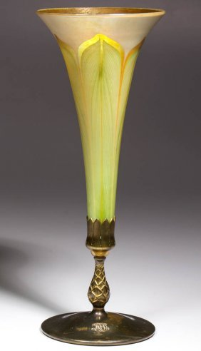 Tiffany Favrile Pulled Feather Trumpet Vase