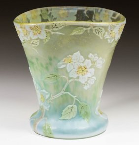 Legras Cameo And Enameled Vase