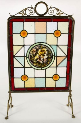 Arts And Crafts Leaded- And Stained-glass Fire Screen