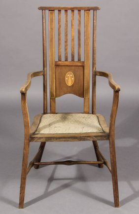 English Arts And Crafts Inlaid Armchair
