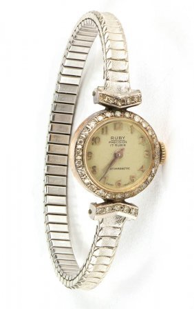 Vintage Swiss Lady's Gold And Diamond Wrist Watch