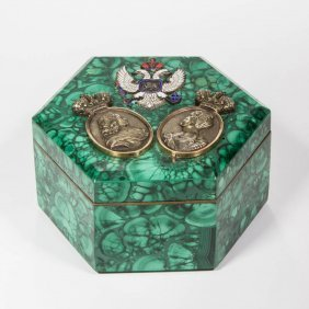 Russian Gold, Malachite, And Jewel Encrusted Box In The