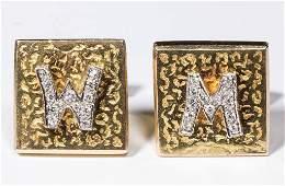 VINTAGE GENTLEMANS 14K AND DIAMOND PAIR OF CUFF LINKS