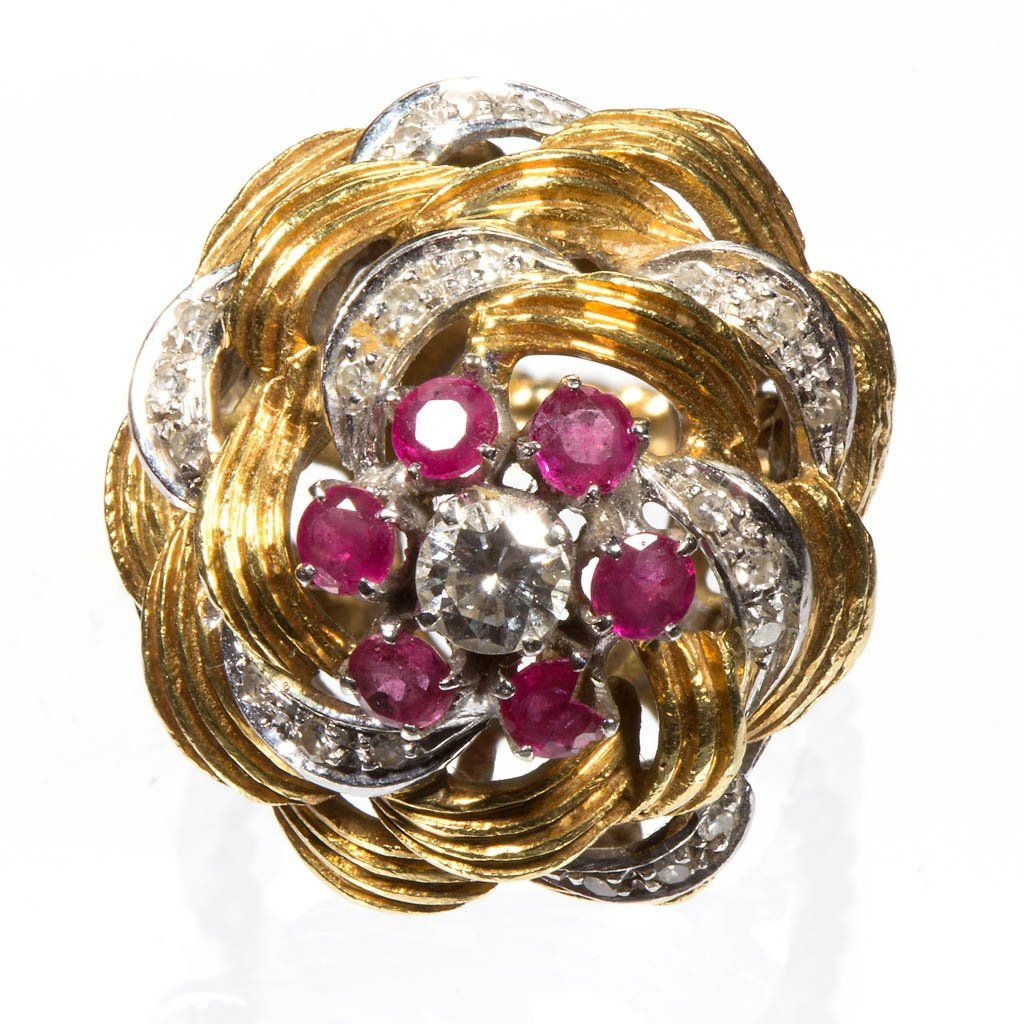 VINTAGE LADY'S 14K GOLD, DIAMOND, AND RUBY COCKTAIL