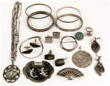 VINTAGE STERLING SILVER JEWELRY LOT OF 20 PIECES