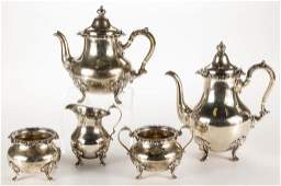GORHAM STERLING SILVER FIVE-PIECE TEA AND COFFEE