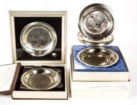Assorted Sterling Silver Artist Commemorative Plates,