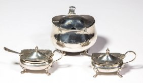 English Sterling Silver Table Articles, Lot Of Three