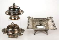 VICTORIAN QUADRUPLE-PLATE SILVER TABLE ARTICLES, LOT OF