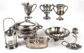 VICTORIAN SILVER-PLATED TABLE ARTICLES, LOT OF EIGHT